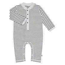 Buy Wheat Baby Button Placket Stripe Cotton Romper Playsuit, Navy Online at johnlewis.com