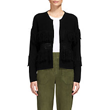 Buy Whistles Fringe Detail Cardigan, Black Online at johnlewis.com