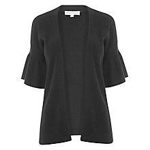 Buy Warehouse Frill Sleeve Cardigan, Black Online at johnlewis.com