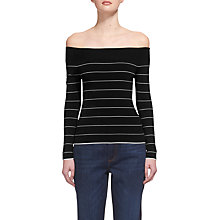 Buy Whistles Fine Stripe Bardot Jumper, Black Online at johnlewis.com