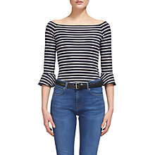 Buy Whistles Stripe Frill Cuff Bardot Top, Multi Online at johnlewis.com