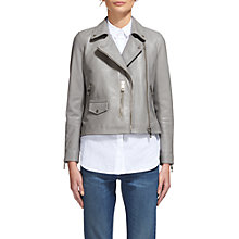 Buy Whistles Agnes Leather Biker, Pale Grey Online at johnlewis.com