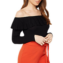 Buy Miss Selfridge Ruffle Bardot Top, Black Online at johnlewis.com