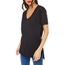 Buy Miss Selfridge Longline Tunic T-Shirt, Black Online at johnlewis.com