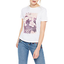 Buy Miss Selfridge Maison Fleur T-Shirt, White Online at johnlewis.com