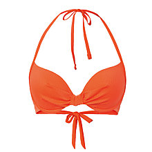 Buy Fat Face Textured Plunge Bikini Top, Orange Online at johnlewis.com