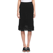 Buy Whistles Fringe Hem Cotton Skirt, Black Online at johnlewis.com