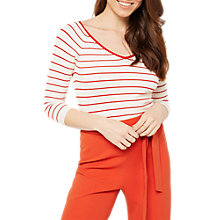 Buy Miss Selfridge Stripe Tie Back 3/4 Sleeve Knitted Top, Cream Online at johnlewis.com