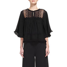 Buy Whistles Harper Tassle Trim Top, Black Online at johnlewis.com