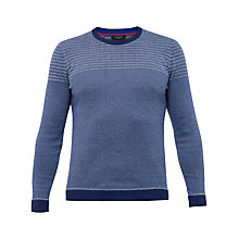Buy Ted Baker Dynamo Striped Crew Neck Jumper, Navy Online at johnlewis.com