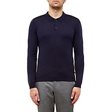 Buy Ted Baker Hustler Silk-Blend Knitted Polo Shirt, Navy Online at johnlewis.com