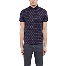 Buy Ted Baker Fella Diamond Print Cotton Polo Shirt, Navy Online at johnlewis.com