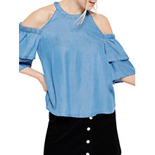 Buy Miss Selfridge Denim Cold Shoulder Top, Blue Online at johnlewis.com