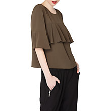 Buy Miss Selfridge Ruffle Front T-Shirt, Khaki Online at johnlewis.com