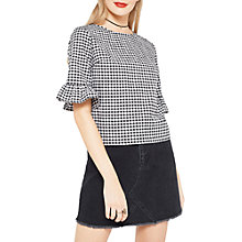 Buy Miss Selfridge Gingham Frill Sleeve T-Shirt, White Online at johnlewis.com