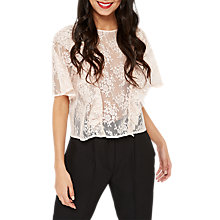 Buy Miss Selfridge Lace Ruffle T-Shirt, Nude Online at johnlewis.com