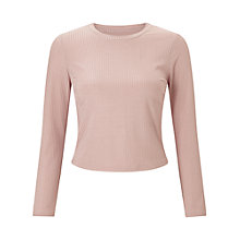 Buy Miss Selfridge Petite Ribbed Long Sleeve T-Shirt, Satin Pink Online at johnlewis.com