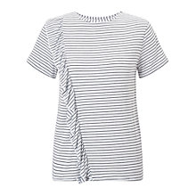Buy Miss Selfridge Petite Stripe Ruffle T-Shirt, Ivory Online at johnlewis.com