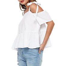 Buy Miss Selfridge Poplin Tie Cold Shoulder Top, White Online at johnlewis.com