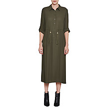 Buy French Connection Cecil Long Draped Shirt Dress, Woodland Green Online at johnlewis.com