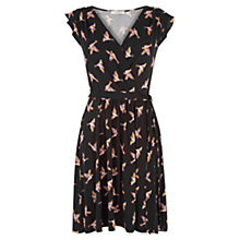 Buy Oasis Susie Bird Wrap Skater Dress, Black Online at johnlewis.com