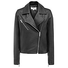 Buy Reiss Brewer Leather Biker Jacket, Black Online at johnlewis.com