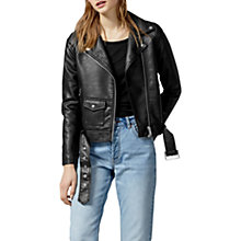 Buy Warehouse Faux Leather Biker Jacket, Black Online at johnlewis.com