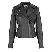 Buy Oasis Pleated Biker Jacket, Black Online at johnlewis.com