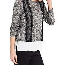 Buy Oasis Lace Cut And Sew Insert Jumper, Mid Grey Online at johnlewis.com