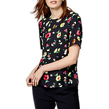 Buy Warehouse Woodstock Floral Top, Black Online at johnlewis.com