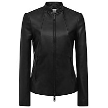 Buy Reiss Serge Centre Front Zip Leather Jacket, Black Online at johnlewis.com