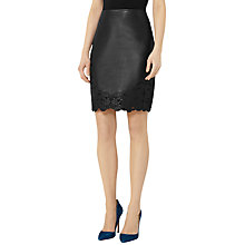 Buy Reiss Kelsey Leather And Lace Skirt, Black Online at johnlewis.com