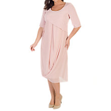 Buy Chesca Crepe Bodice Chiffon Drape Dress, Powder Pink Online at johnlewis.com