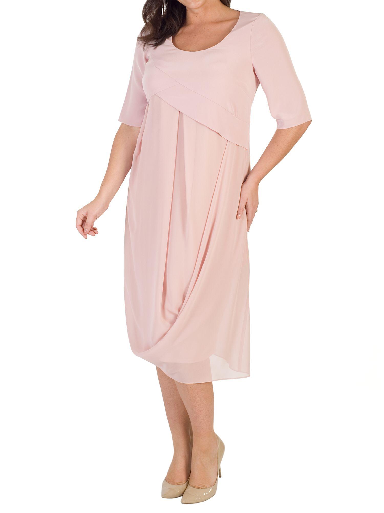 Chesca Chesca Crepe Bodice Chiffon Drape Dress, Powder Pink