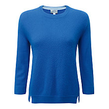 Buy Pure Collection Ribbed Gassato Cashmere Jumper, True Blue Online at johnlewis.com