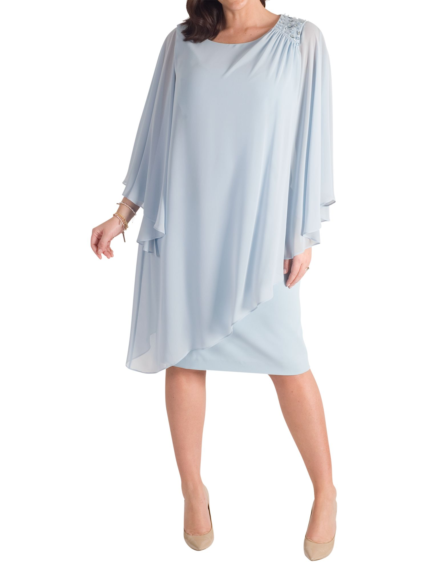Chesca Chesca Chiffon Layer Bead Shoulder Dress, Aqua
