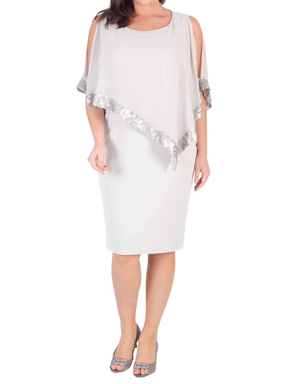 Chesca Chesca Sequin Trim Cape Dress, Silver Grey