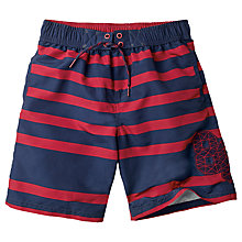 Buy Fat Face Boys' Stripe Print Board Shorts, Red/Navy Online at johnlewis.com