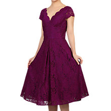 Buy Jolie Moi Cap Sleeve Scalloped Lace Dress, Dark Purple Online at johnlewis.com