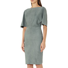 Buy Reiss Nola Asymmetric Neckline Suede Dress, Moss Online at johnlewis.com