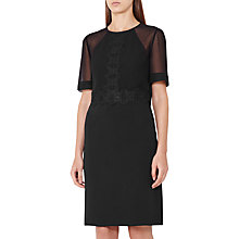 Buy Reiss Shauna Lace Detail Shift Dress, Black Online at johnlewis.com