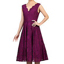 Buy Jolie Moi Scalloped V-Neck Lace Dress, Dark Purple Online at johnlewis.com