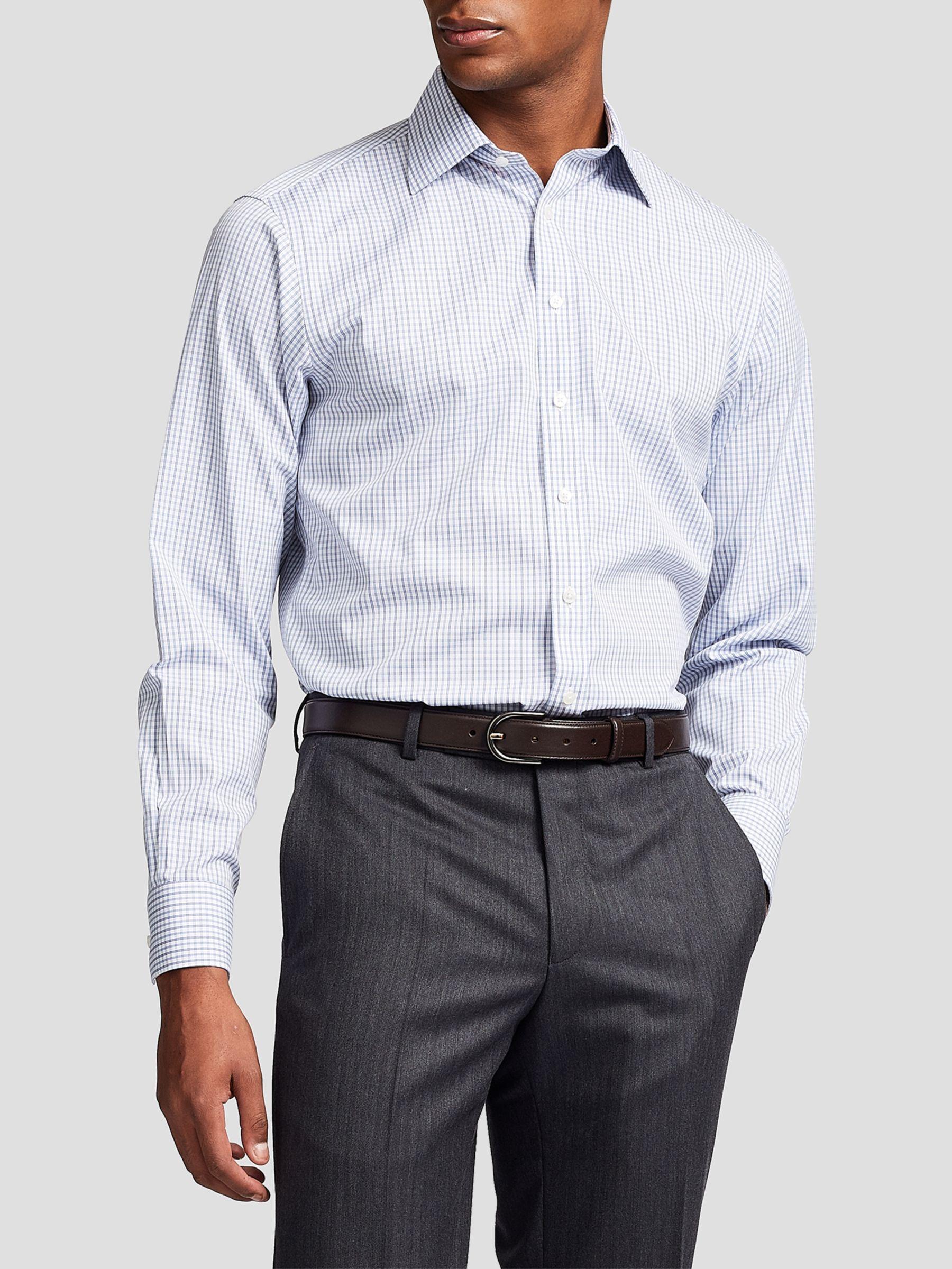 Thomas Pink Thomas Pink Lipson Check Slim Fit XL Sleeve Shirt, Blue/White