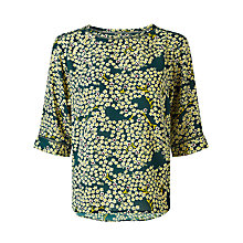 Buy Maison Scotch Ladded Insert Printed Top, Green Online at johnlewis.com