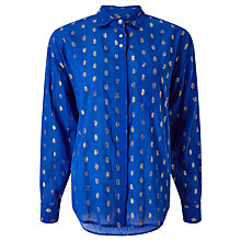 Buy Maison Scotch Metallic Fibre Jacquard Shirt, Blue Online at johnlewis.com