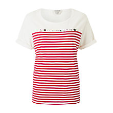 Buy Maison Scotch French Striped Short Sleeve T-Shirt, White/Red Online at johnlewis.com