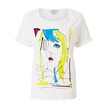 Buy Maison Scotch Printed Face Short Sleeve French T-Shirt, White Online at johnlewis.com