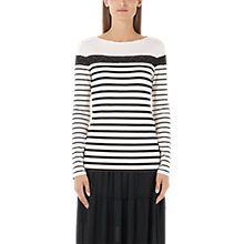 Buy Marc Cain Lace Detail Stripe Jersey Top, Cream/Black Online at johnlewis.com