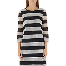 Buy Marc Cain Cotton Lace Stripe Dress, Black/White Online at johnlewis.com