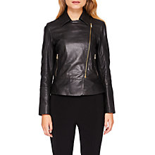 Buy Ted Baker Lizia Minimal Biker Jacket, Black Online at johnlewis.com
